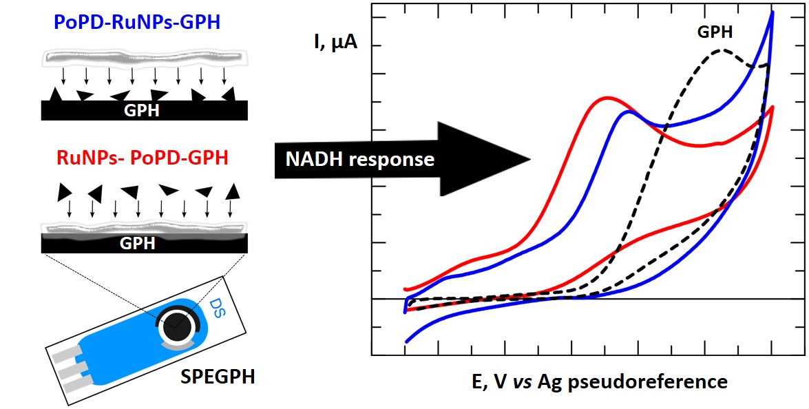 Screen-printed GPH electrode modified with Ru nanoplates and PoPD polymer film for NADH sensing: Design and characterization