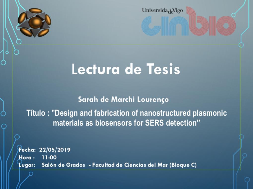 Sarah De Marchi Lourenço will defend her Ph.D. Thesis
